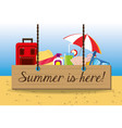 set summer icon over sand with a beautiful sunny vector image vector image