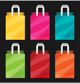 shopping bag flat icon set vector image