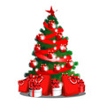 sketch with cute christmas tree with red ribbon vector image vector image