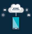 smartphone with internet communication vector image vector image