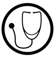 stethoscope black white icon vector image vector image