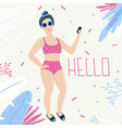 summer beach poster with girl beach holiday vector image
