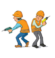Two builders with drills vector image vector image