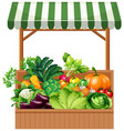 vegetable on wooden shelf vector image vector image
