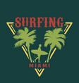 vintage miami surfing emblem vector image vector image