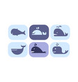 whale icons set cute sea creature animals signs vector image