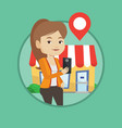 woman looking for restaurant in her smartphone vector image vector image