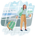 young african american woman in airport traveler vector image vector image