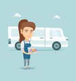 young caucasian baker delivering cakes vector image vector image