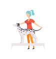 young woman presenting her purebred dalmatian dog vector image vector image