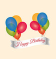 happy birthday lettering flying balloons banner vector image