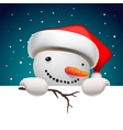 Cute snowman holding white page Christmas card vector image