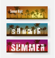 set of horizontal banners with a summer sunset of vector image
