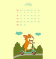 2018 july calendar with welsh corgi dog vector image vector image