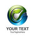 3d logo design e letter and leaf colorful