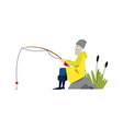 a old male fisherman catches fish and goes fishing vector image