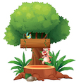 A pig and a bird under the big tree vector image vector image