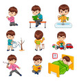 boy does daily routine actions set vector image