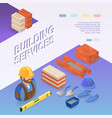 building services isometric concept worker vector image