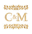 c and m vintage initials logo symbol the letters vector image