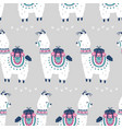 cartoon llama alpaca seamless pattern vector image