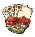 casino set vintage color engraving vector image