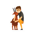 cheerful male farmer character caring for his goat vector image vector image