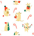 christmas seamless pattern with funny mice vector image vector image