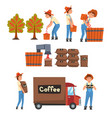 coffee industry production stages set farmers vector image vector image