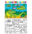 coloring book crocodile image 2 vector image
