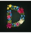 D letter Flower capital alphabet Colorful font vector image vector image