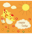 Easter background with funny chicks vector image