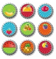 fruity bottle caps set vector image