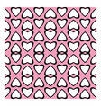 Fun pattern with white hearts on pink background vector image vector image