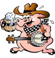 Hand-drawn of an pig playing banjo vector image