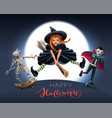 happy halloween greeting card text witch on broom vector image vector image