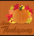 happy thanksgiving day on orange background with vector image
