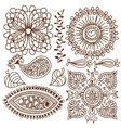 Henna tattoo doodle elements set vector image