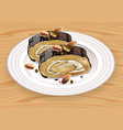 homemade chocolate and pistachio roll dessert on vector image