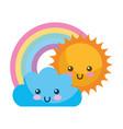 kawaii cloud sun and rainbow cartoon vector image vector image