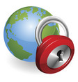 lock and world globe vector image vector image