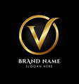 luxury letter v logo template in gold color royal vector image