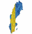 map of the swedish with flag inside vector image vector image