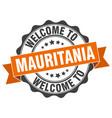 mauritania round ribbon seal vector image vector image