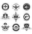 monochrome military emblems set vector image vector image