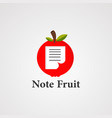 note fruit logo icon element and template vector image vector image