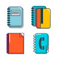 notebook icon set cartoon style vector image