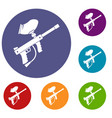 paintball marker icons set vector image vector image