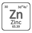 periodic table element zinc icon vector image vector image