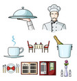 restaurant set icons in cartoon style big vector image